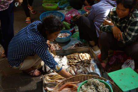 fish selling: SIEM REAP, CAMBODIA - FEB 16, 2015 - Woman selling fish  in the market of  Siem Reap,  Cambodia