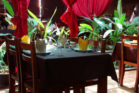 siem: Outdoor restaurant, table and chairs,  Siem Reap,  Cambodia
