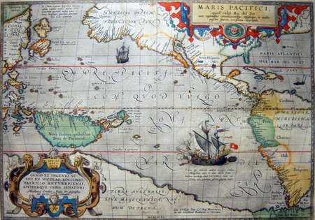 ASTORIA, OREGON - OCT 1, 2015 - Antique map of the Pacific Ocean,  Columbia River Maritime Museum  Astoria, Oregon