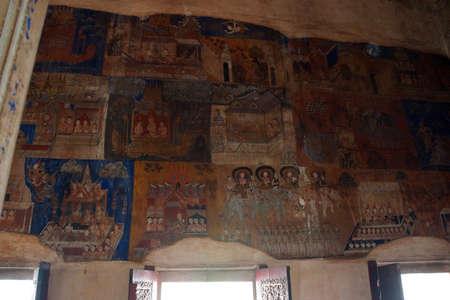 SIEM REAP, CAMBODIA - FEB 17, 2015 - Scenes from the Ramayana Hindu myth in Buddhist temple,  Wat Bo Cambodia