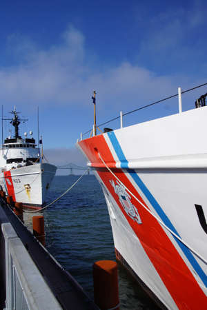 steadfast: Coast Guard Cutter Steadfast,  anchored facing  CG Cutter Alert Astoria, Oregon Editorial