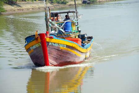 mekong: MEKONG RIVER, VIETNAM - FEB 6, 2015 - Small boat working on the Mekong River,  Vietnam