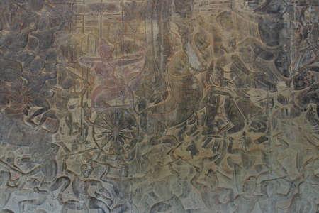 bas relief: Langka battle, carved  bas relief based on Hindu myth Ramayana,