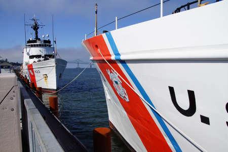 Coast Guard Cutter Steadfast,  anchored facing  CG Cutter Alert Astoria, Oregon Publikacyjne