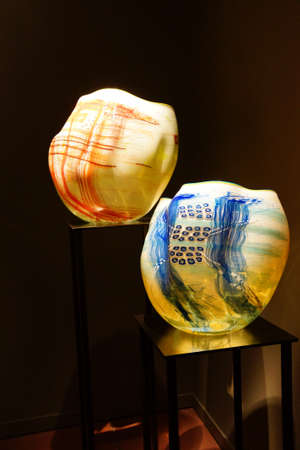 chihuly: SEATTLE - JUL 23, 2015 - Blown glass inspired by Native American woven baskets,  Chihuly Garden and Glass Museum,  Seattle, Washington