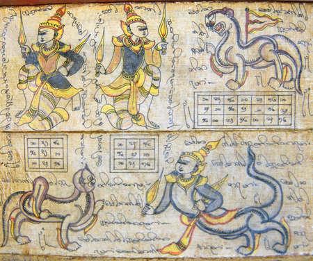 mythical: Astrological chart on Burmese calendar showing guardian spirits and mythical animals, Myanmar, Burma Editorial