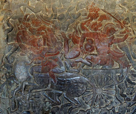 Langka battle, carved  bas relief based on Hindu myth Ramayana,