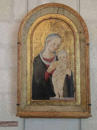 avignon: AVIGNON, FRANCE - OCT 1, 2011 - Madonna and child, Renaissance painting,  Petit Palace, Avignon, France