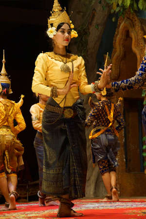 performs: SIEM REAP, CAMBODIA - FEB 14, 2015 - Apsara dancer performs at an evening recital,  Siem Reap,  Cambodia