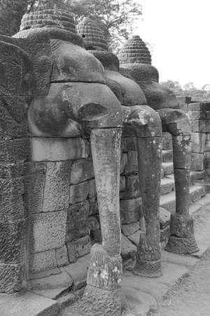 Procession of elephants on the Elephant Terrace, Angkor Thom,  Cambodia