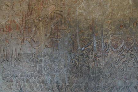 bas: Langka battle, carved  bas relief based on Hindu myth Ramayana,