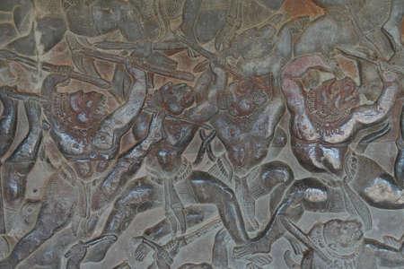 Langka battle, carved  bas relief based on Hindu myth Ramayana,