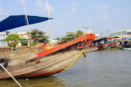 prow: Prow of river boat  at the Cai Rang floating market,  Vietnam Stock Photo