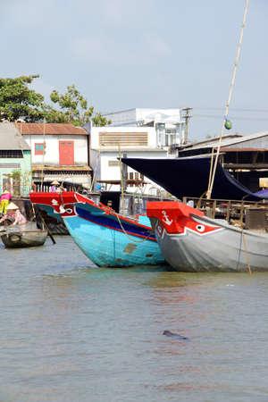 cai rang: Prow of river boat  at the Cai Rang floating market,  Vietnam Stock Photo