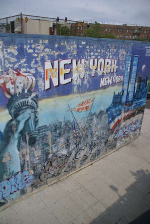 9 11: NEW YORK 2008 - Faded mural honoring New Yorkers who died on 9 11 2001,  Spanish Harlem,