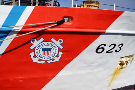 steadfast: ASTORIA, OREGON - OCT 1, 2015 - Coast Gard insignia of USCG cutter Steadfast 623,   Astoria, Oregon Editorial