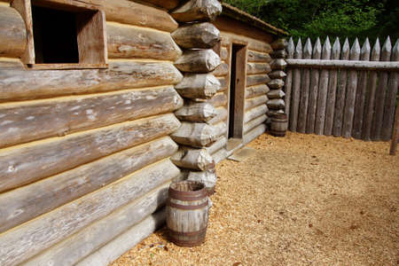 Detail of stockade fence of Fort Clatsop, re-construction at   Lewis and Clark National Historical Park, Oregon