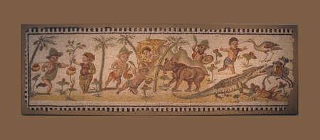 NEW YORK - JUL 24, 2008 - Pygmies hunting hippo and crocodiles - ancient Roman mosaic,Metropolitan Museum of Art,New York City