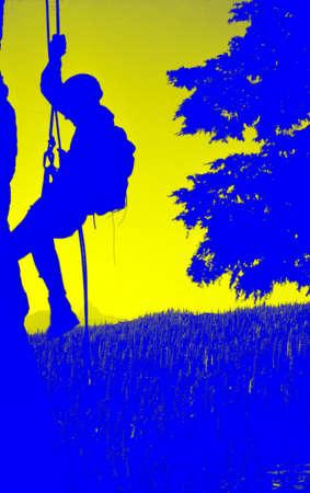 rappel: Climber on rappel, silhouette,Obsidian Cliffs,Oregon Cascades Stock Photo