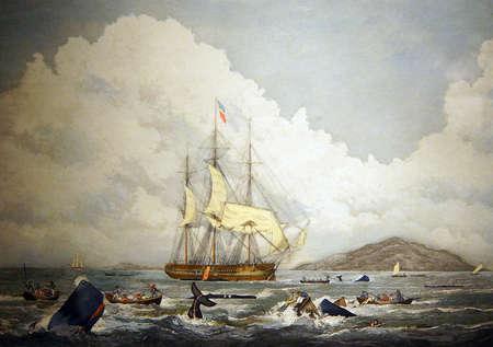 ASTORIA, OREGON - 1 octobre 2015 - baleiniers britanniques de chasse cachalots dans les mers du Sud, 19e siècle Gravure, Columbia River Maritime Museum, Astoria, Oregon Banque d'images - 47764137