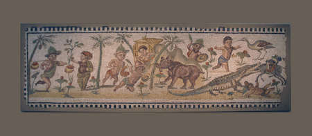NEW YORK - JUL 24, 2008 - Pygmies hunting hippo and crocodiles - ancient Roman mosaic,Metropolitan Museum of Art,New York City