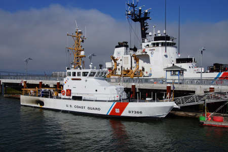 steadfast: ASTORIA, OREGON - OCT 1, 2015 - USCG cutter Steadfast 623 and patrol boat Terrapin, WPB 87366 Astoria, Oregon