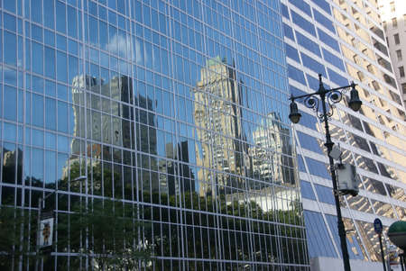 42nd: NEW YORK - JUL 24, 2008 - Reflections of skyscrapers near 42nd Street,  of New York City