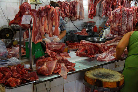 offal: Fresh pork for sale in the early morning  at the Ben Thanh market, Saigon (Ho Chi Minh City),  Vietnam