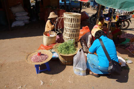 AUNG BAN, BURMA - FEB 28, 2015 - Local Shan women at the weekly market in  Aung Ban,  Myanmar (Burma)