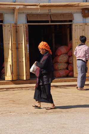 weekly market: AUNG BAN, BURMA - FEB 28, 2015 - Local Shan women at the weekly market in  Aung Ban,  Myanmar (Burma)