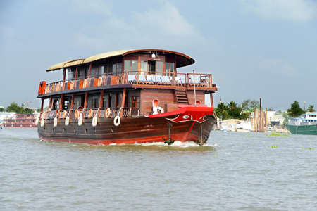 river: Tourist cruise ship on the Mekong River,  Vietnam