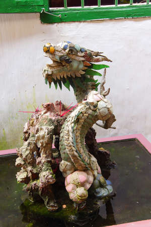 assembly hall: Dragon made of mosaic tiles,  Fukian Assembly Hall, Hoi An, Vietnam