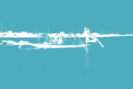 脚ローイング漁師は、インレー湖で, ミャンマー (ビルマ) の彼の小さいボートを推進します。 写真素材 - 48072665