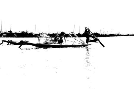 脚ローイング漁師は、インレー湖で, ミャンマー (ビルマ) の彼の小さいボートを推進します。 写真素材 - 48108928