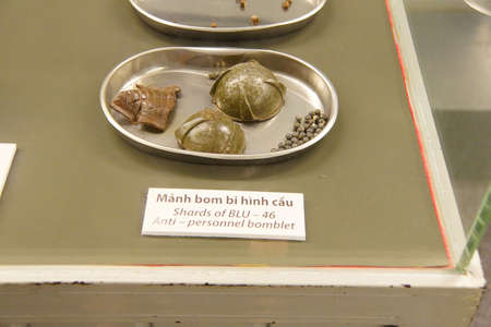 remnants: SAIGON - FEB 5, 2015 - Grenade and cluster bomblets,  War Remnants Museum, Saigon (Ho Chi Minh City),  Vietnam