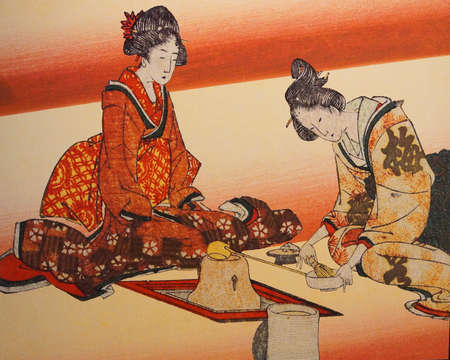 companions: NARITA, JAPAN - MAR 4, 2015 - Traditional Japanese Geisha painting, Narita, Japan Editorial