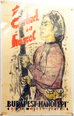 remnants: SAIGON - FEB 5, 2015 - Poster for protest against the Vietnamese war, from Hungary,  War Remnants Museum, Saigon (Ho Chi Minh City),  Vietnam
