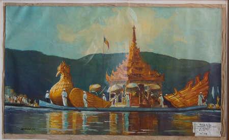 daw: INLE LAKE, MYANMAR - MAR 1, 2015 - Painting of festival barge carrying Buddha statues,  Hpaung Daw U Pagoda, Inle Lake,  Myanmar (Burma)