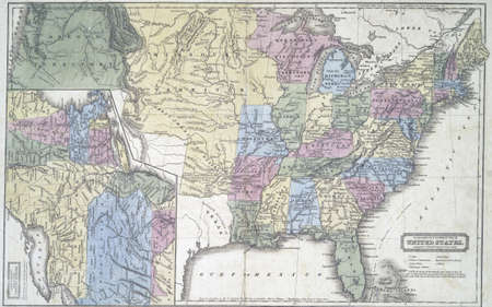 Map of United States in early 1800s,  Modified from the map released under Creative Commons license from the Lionel Pincus & Princess Firyal Map Division, The New York Public Library