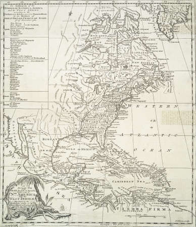European settlements in the Americas, from the 18th century,  Modified from the map released under Creative Commons license from the Lionel Pincus & Princess Firyal Map Division, The New York Public Library