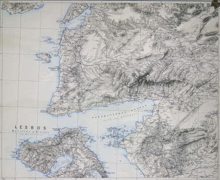 Map of the Dardanelles, Troy and Greek Island of Lesbos, Modified from the map released under Creative Commons license from the Lionel Pincus & Princess Firyal Map Division, The New York Public Library Imagens - 49300321