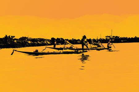 脚ローイング漁師は、インレー湖で, ミャンマー (ビルマ) の彼の小さいボートを推進します。 写真素材 - 49470470