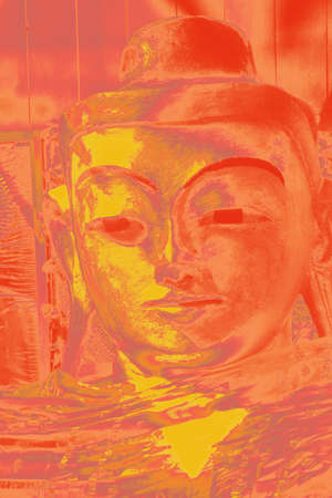 near: Golden head of Buddha,  Lonyon Monastery, , near Hsipaw, Myanmar (Burma)