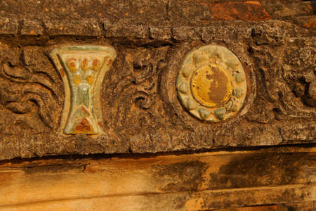 Elaborate carvings and ceramic decorations on exterior of Htilominlo Temple, Bagan,  Myanmar (Burma) Archivio Fotografico