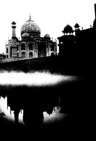 Taj Mahal, classic view from across river, Agra, India