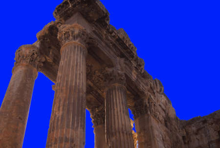 roman pillar: Corinthian Columns, ruins of Temple of Jupiter at Baalbek,Lebanon