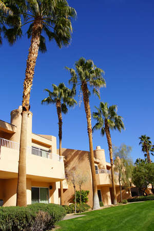 a mirage: RANCHO MIRAGE, CALIFORNIA - DEC 16, 2015 - Southwestern style hotel buildings in green oasis with Palm trees,  Rancho Mirage, California Editorial