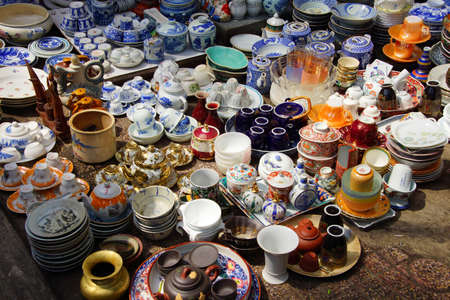 Vintage porcelain for sale at the  Antiques market in Saigon (Ho Chi Minh City),  Vietnam