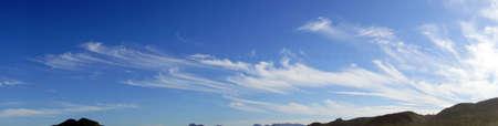 cirrus: Panorama of high cirrus clouds over Seaside, Oregon coast Stock Photo