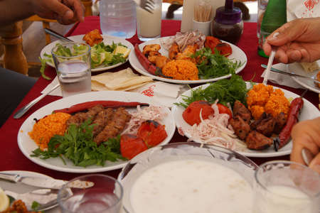 kabab: Kebabs, peppers and coos coos for lunch  in Sanliurfa,  Turkey